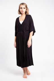 Priv Signature Kimono Robe in Black