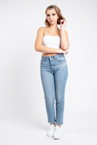 C'est Moi Bamboo Crop Tube Top in White