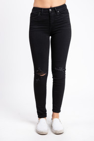 Silver Jeans Isbister Ankle Skinny in Black Distressed