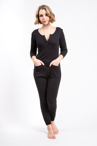 Smash & Tess Coffee Time Waffle Romper in Midnight Black