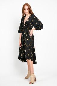 Saltwater Luxe Veronica Midi Dress in Black Floral