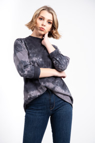 Free People We The Free Be Free Tie Dye Top in Charcoal