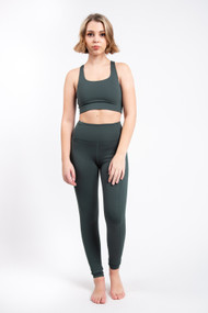 Girlfriend Collective High Rise Pocket Legging in Moss