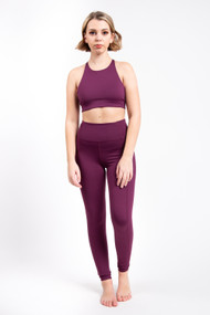 Girlfriend Collective High Rise Pocket Legging in Plum