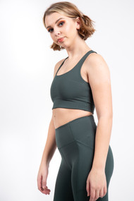 Girlfriend Collective Paloma Bra in Moss