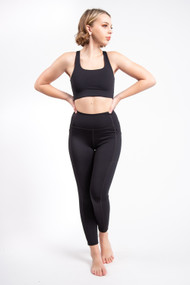 Girlfriend Collective High Rise Ankle Pocket Legging in Black