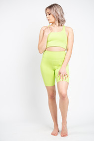 Girlfriend Collective High Rise Bike Short in Lime