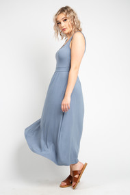 Black Tape Midi Dress in True Blue