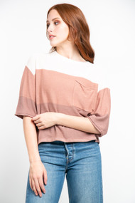Gentle Fawn Delta Sweater in Light Brown Stripe