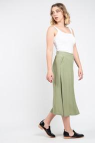 Minimum Maisa Midi Skirt in Oil Green