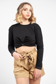 Project Social T Florence Front Twist Top in Black