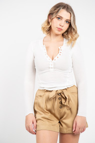 Free People One of The Girls Henley in Ivory