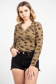 Free People One of The Girls Henley in Army Combo