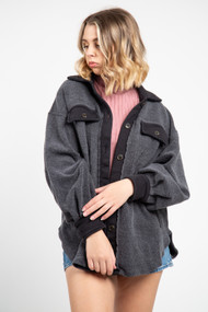 Free People Ruby Jacket in Washed Black