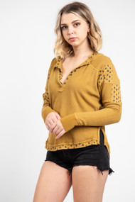 Free People Heart to Heart Henley in Golden Palm