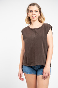 Free People Kasee Mustle Tee in Raven Feather