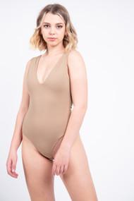 Free People Keep It Sleek Bodysuit in Tan
