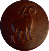 Horned Mountain Goat Leather Button