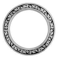 "2-3/4"" Stainless Steel Breast Collar Ring Black Accents"