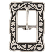 """3/4"""" 4422 Floral Center Bar Buckle SS Black Accents"""