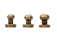 #3440 Button Screw Stud Antique Brass 7mm - 10 Pack