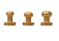 #3440 Button Screw Stud Solid Brass 6mm - 10 Pack