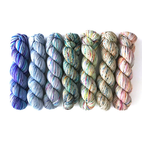 from left to right:  Particles and Waves, Crystal Morning, Morning Mist, Twyla Brae, Visions of Paradise, Nothing Changes That, Country Casual. Purl (not shown)