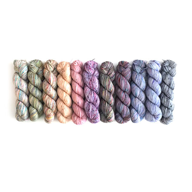 from left to right: Carnival, The Flowers, Lemony Prickles, Sandstone, Softly, Candy Floss, Per Elisa, Calabria, Go Lightly, Glacier, The Times.  Express Yourself (not shown)