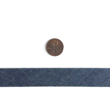Chambray Indigo Solid - Single Fold 2 cm Bias Binding Tape