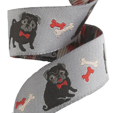 Pug Ribbon by Jessica Jones - 7/8""