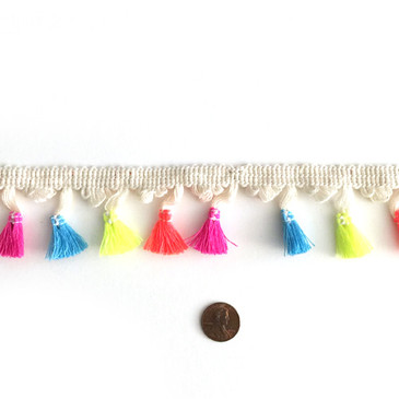 Neon Mix Tassel Fringe - by the yard