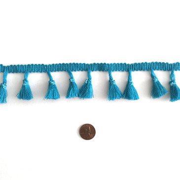 Peacock Blue Tassel Fringe - by the yard