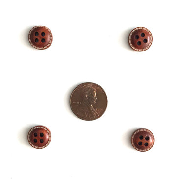 "Stitch Detail Dome Wood Button - 12mm (.47"")"