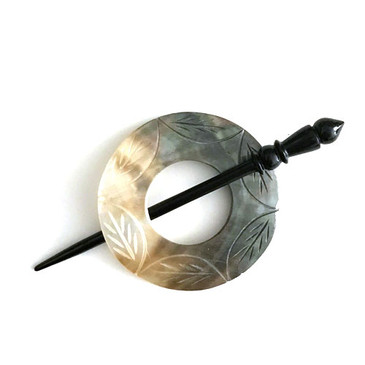 Carved Mother of Pearl Shawl Pin