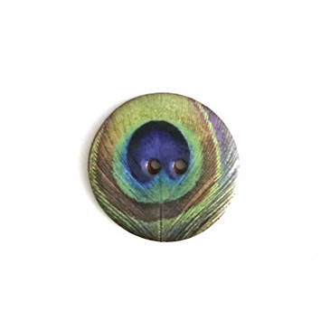 Peacock Feather Ceramic Button - 7/8""