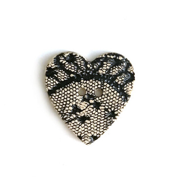 Black Lace Heart Ceramic Button