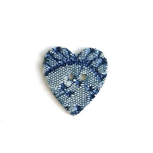 Blue Lace Heart Ceramic Button