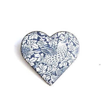 Strawberry Thief Brooch (Blue / White)