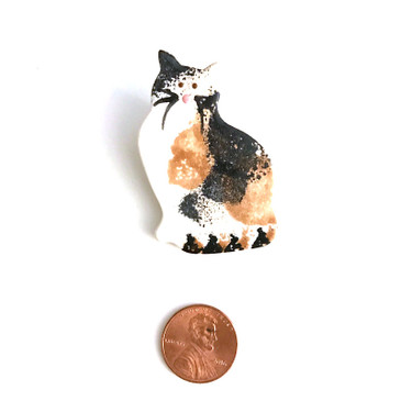 Calico Cat Ceramic Brooch