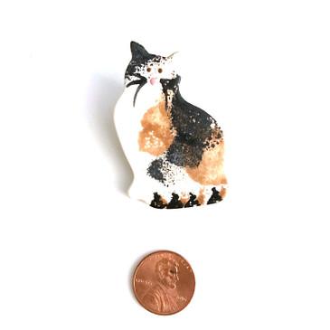 Calico Cat Ceramic Brooch