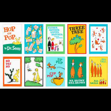 "Dr. Seuss Hop on Pop - Book Pages in Bright - 23"" panel"