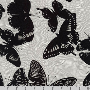 Robert Kaufman Lucinda Rayon Lawn - Jennifer Sampou's Butterfly Netting in Onyx - 54""