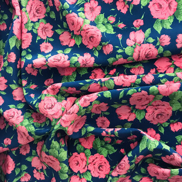 Liberty Carline Rose B (Pink / Blue) - Kensington Crepe de Chine Silk