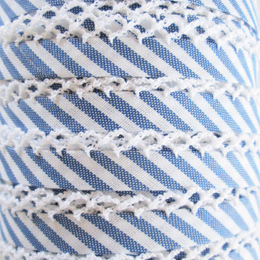 Double Fold Crochet Edge Bias Tape - Royal Blue Stripe