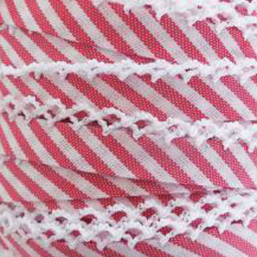 Double Fold Crochet Edge Bias Tape - Red Stripe