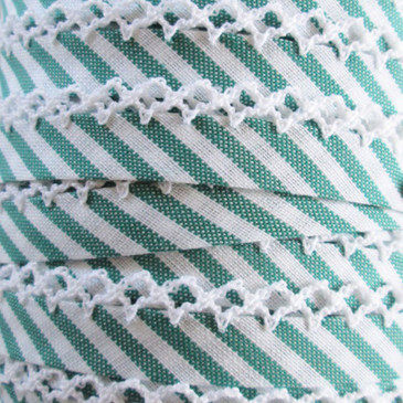 Double Fold Crochet Edge Bias Tape - Kelly Green Stripe