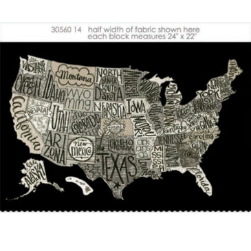 "Moda - Basic Grey Metropolis: US Map Panel Black (23"")"