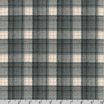 Robert Kaufman: Mammoth Flannel in Plaid Smoke