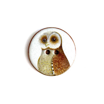 Wise Owl in White Ceramic Button - 1 and 1/16""
