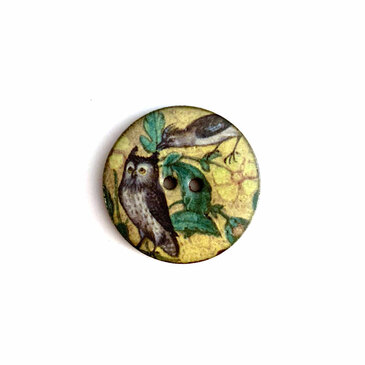 """Yellow Owl and Bird Ceramic Button - 1 and 1/16"""""""